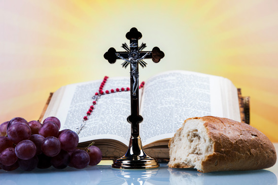 Christian religion, wine, bread and the word of God