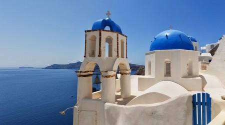 Santorini Oia Church panorama